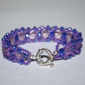 Beautiful blue and purple glass beaded bracelet